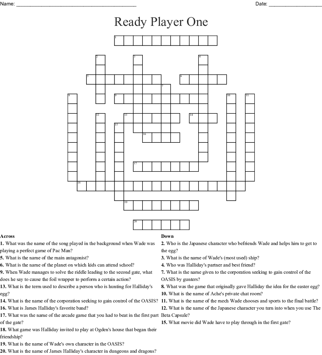 Ready Player One Crossword Wordmint