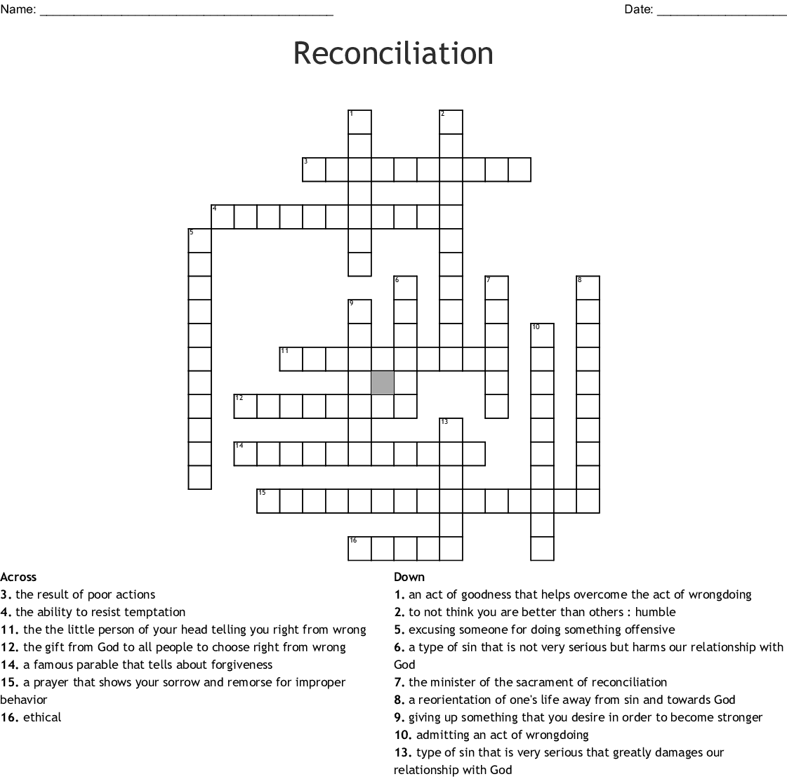 Penance And Reconciliation Crossword Wordmint