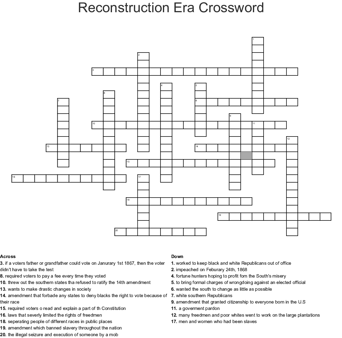 APUSH Period 5 Crossword - WordMint