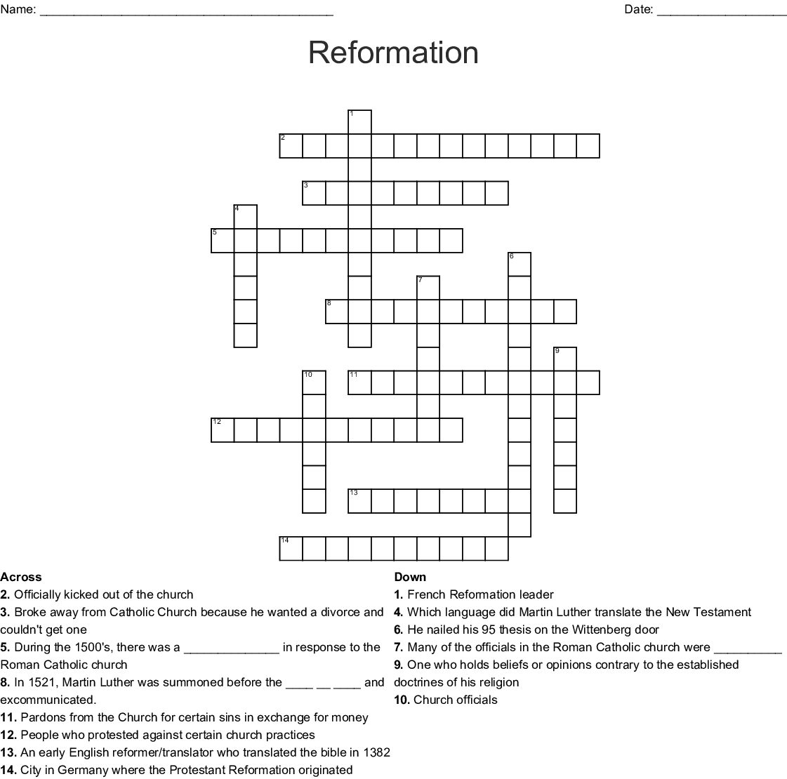 Protestant Reformation Crossword - WordMint