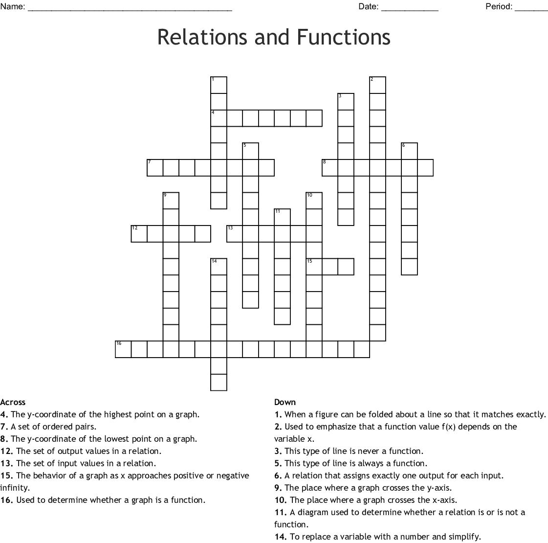 Relations and Functions Crossword - WordMint