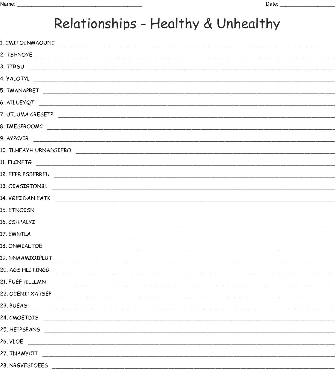 Relationships Healthy Unhealthy Word Scramble Wordmint