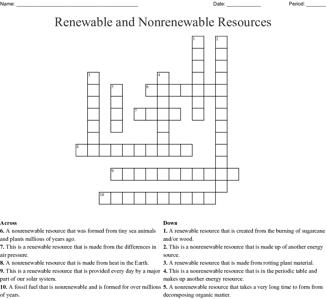 Renewable and Nonrenewable Resources Crossword - WordMint