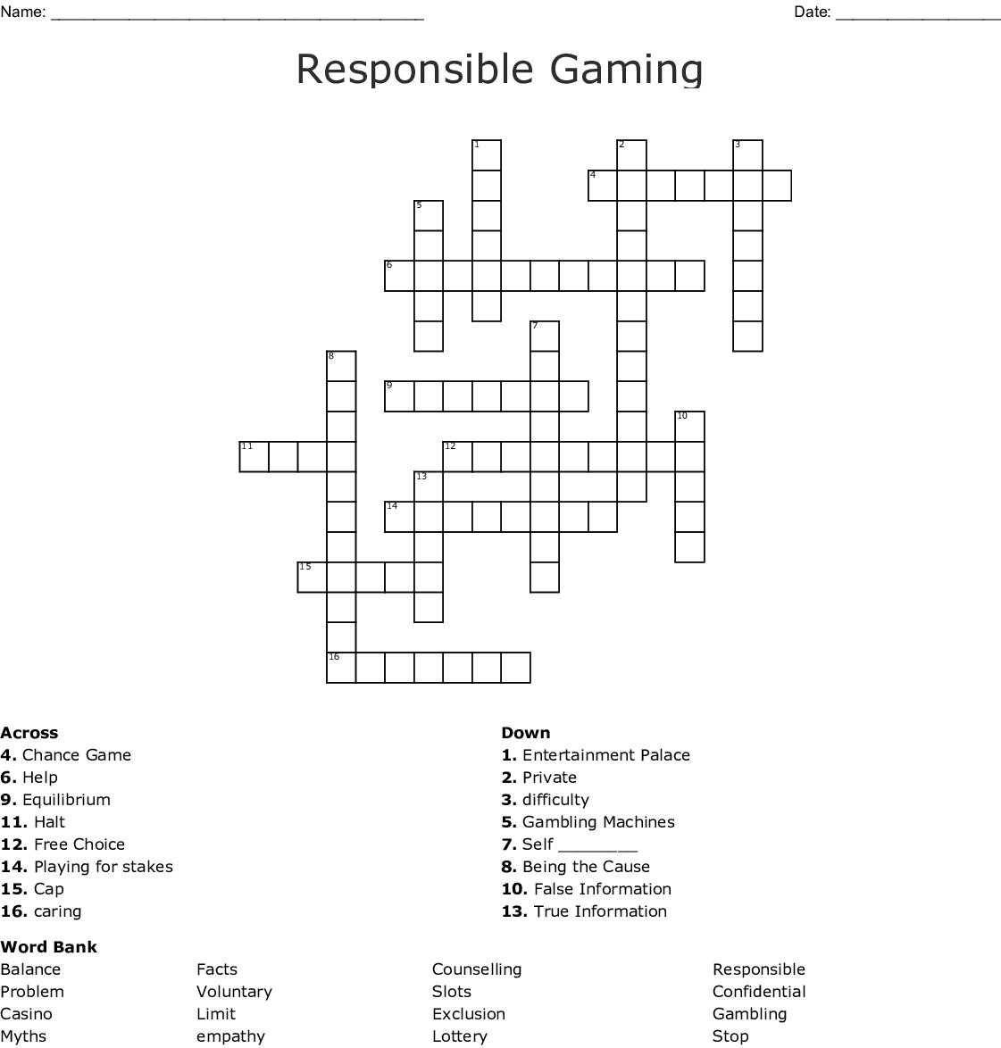 crossword game disease card gambling intestine