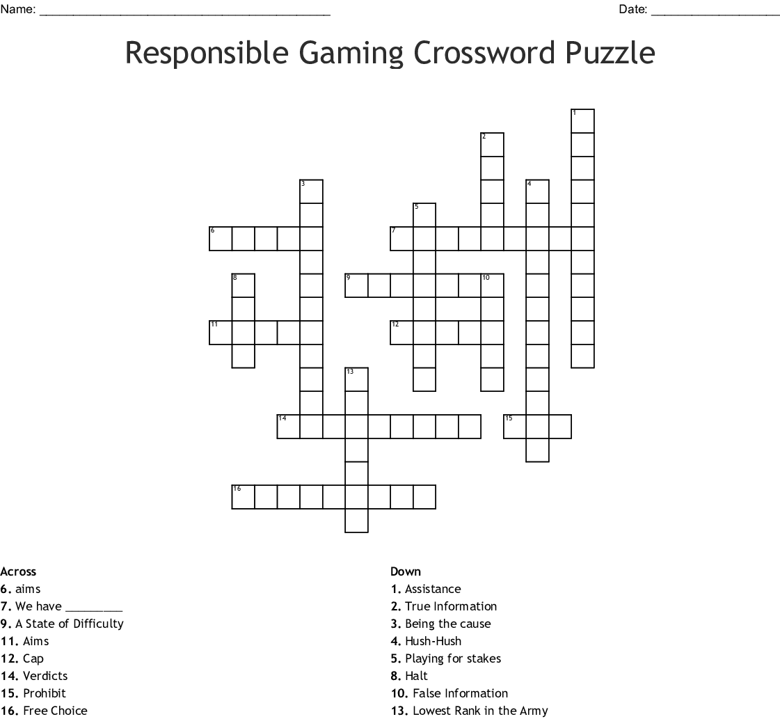 Responsible Gaming Crossword Wordmint