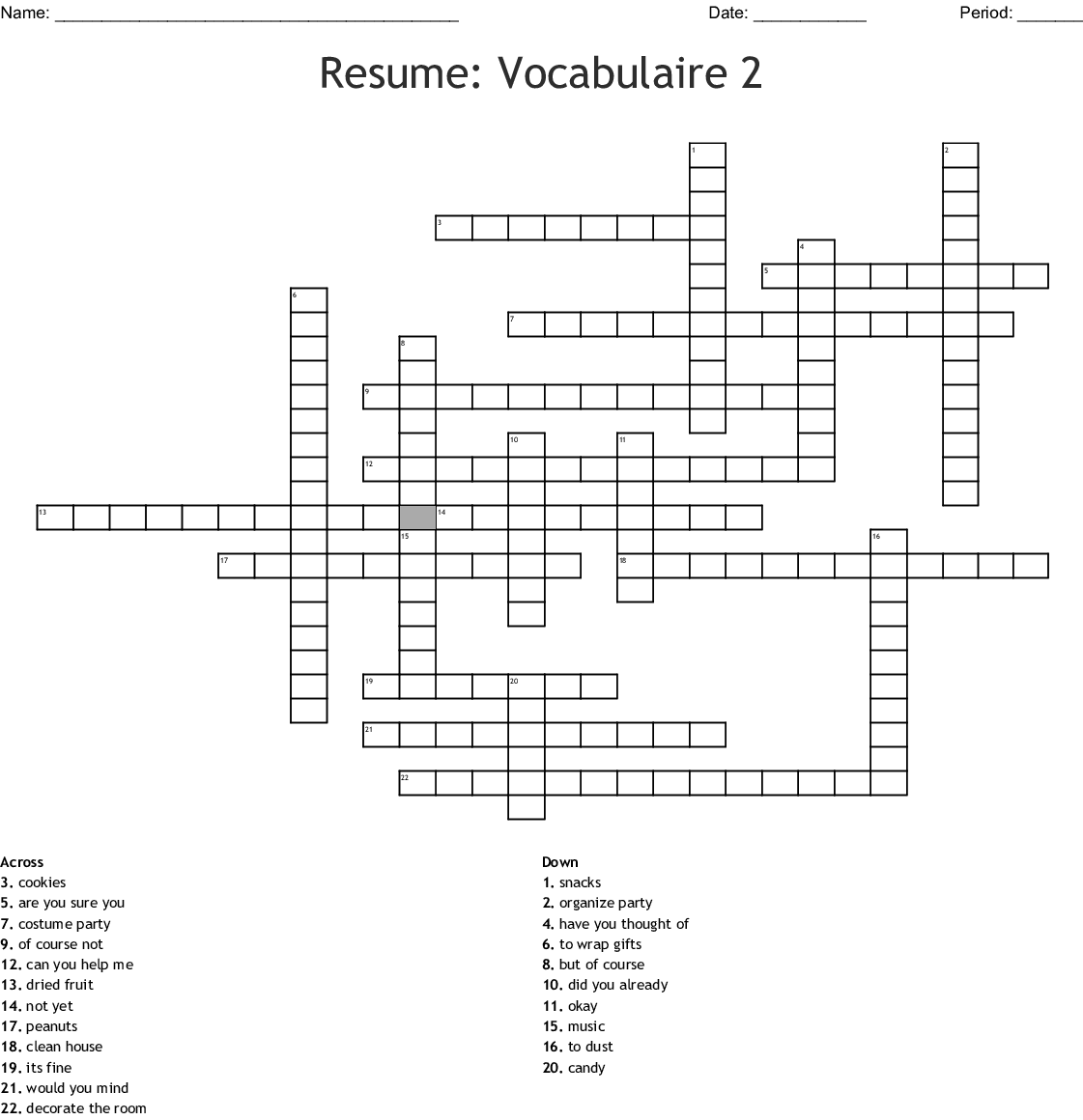 Resume Vocabulaire 2 Crossword