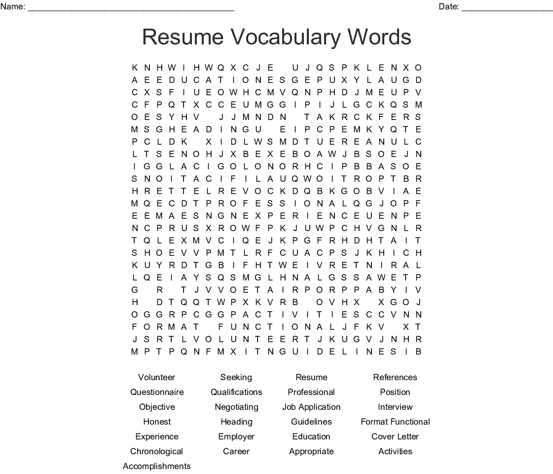 Resume Vocabulary Words Word Search Wordmint