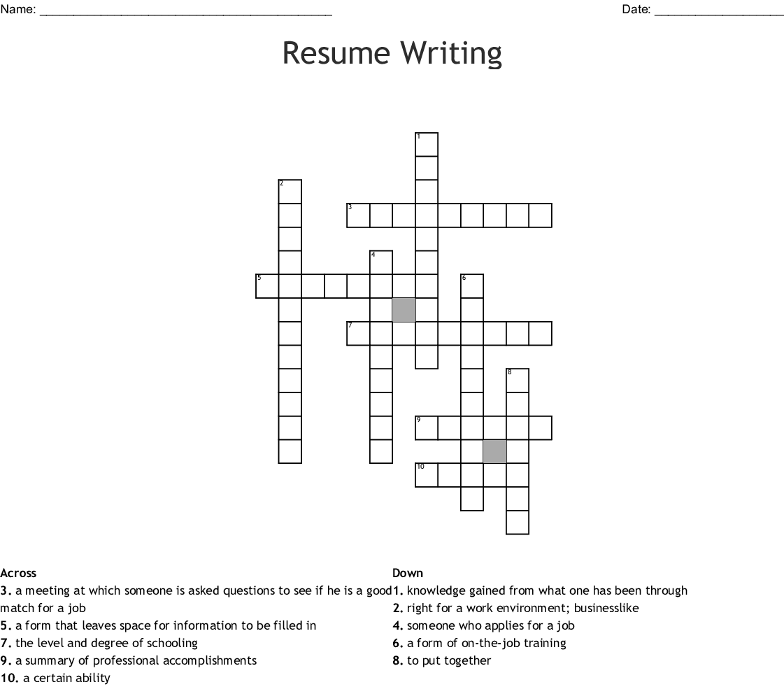 resumes  u0026 portfolios crosswords  word searches  bingo