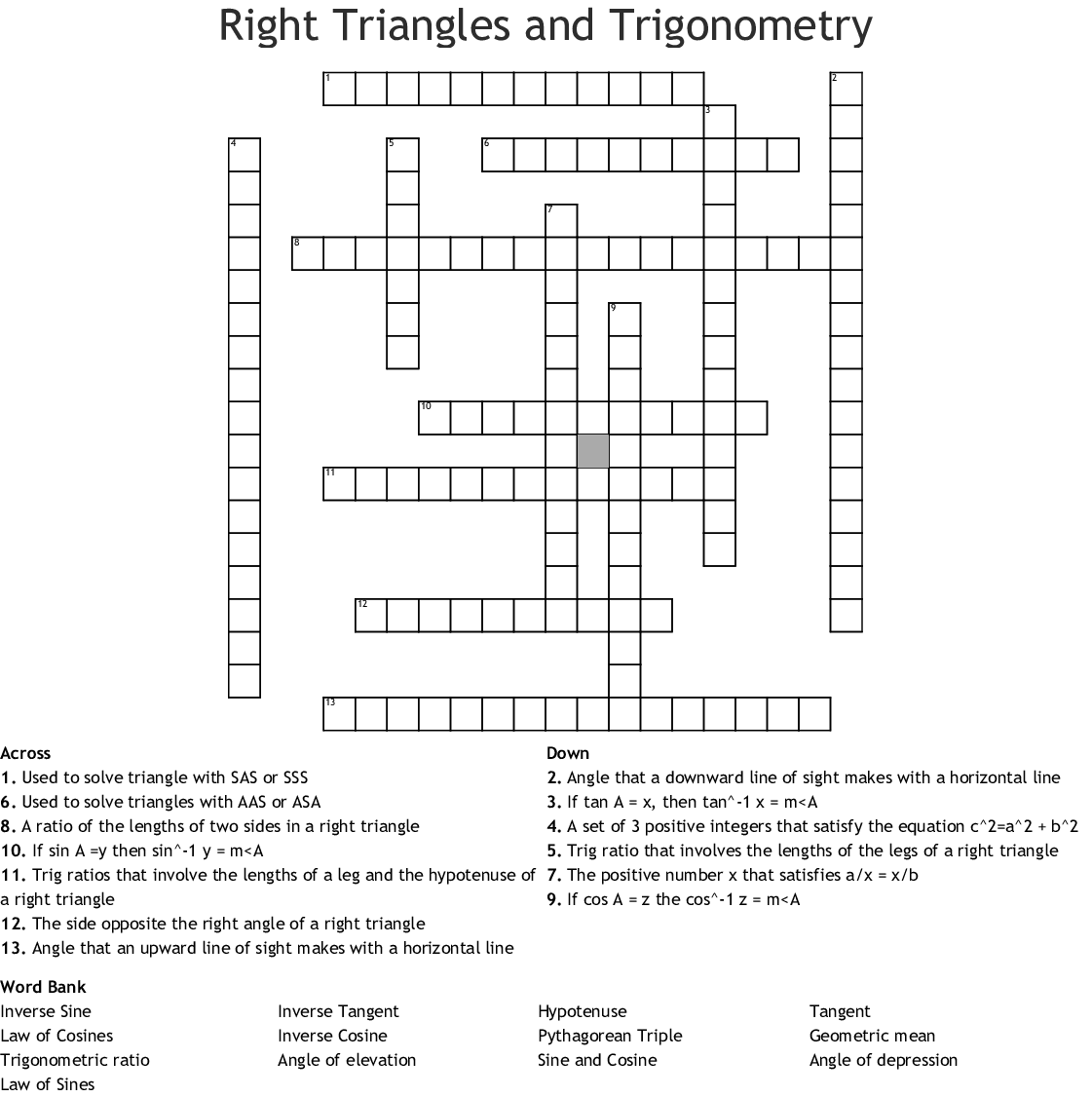 Right Triangles and Trigonometry Crossword - WordMint