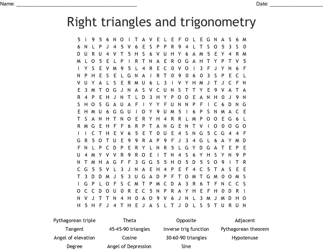 Review of Trig Ratios Crossword - WordMint