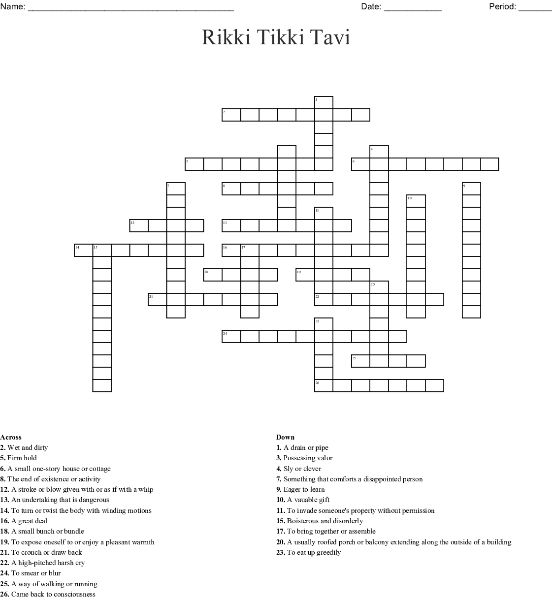 Vocab Unit 7 Crossword Puzzle Wordmint
