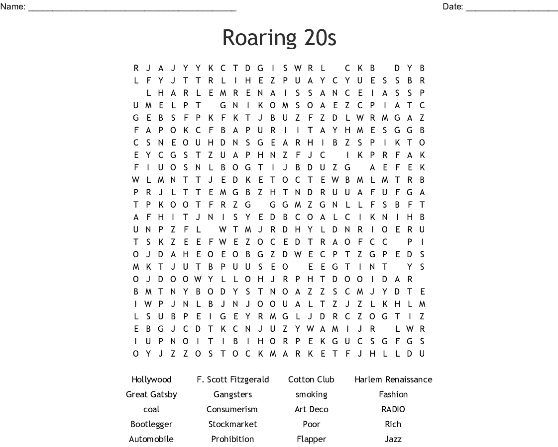 1920s Word Search - WordMint