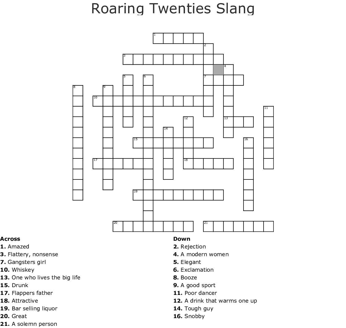 1920's slang Word Search - WordMint