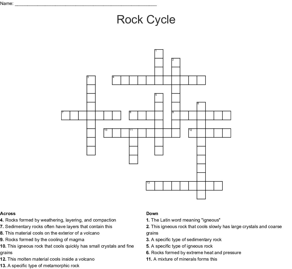 Geology Crosswords, Word Searches, Bingo Cards - WordMint