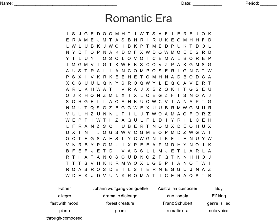 Romantic Era Word Search - WordMint