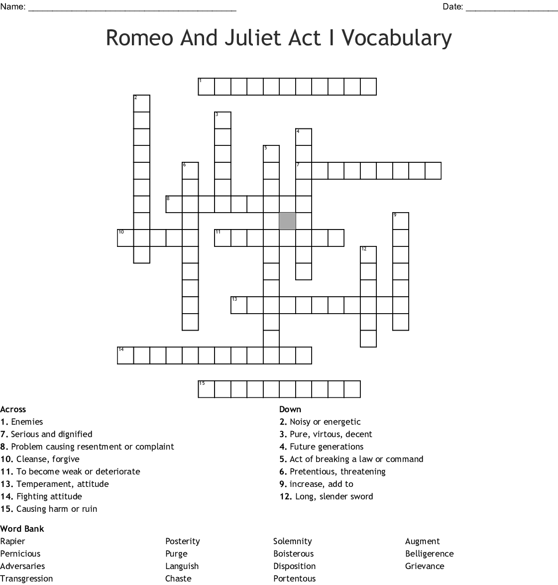Romeo And Juliet Act I Vocabulary Crossword - WordMint