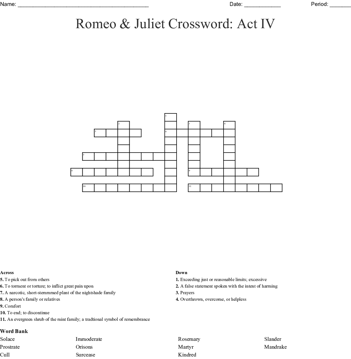 Act 4 And 5 Romeo And Juliet Crossword Wordmint
