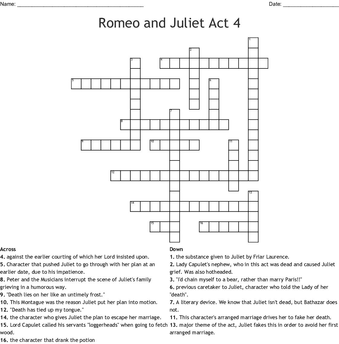 Romeo and Juliet: Act IV Crossword - WordMint