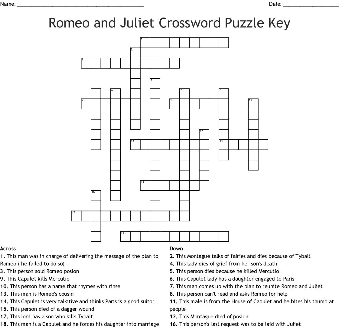 Romeo And Juliet Crossword Puzzle Key Wordmint