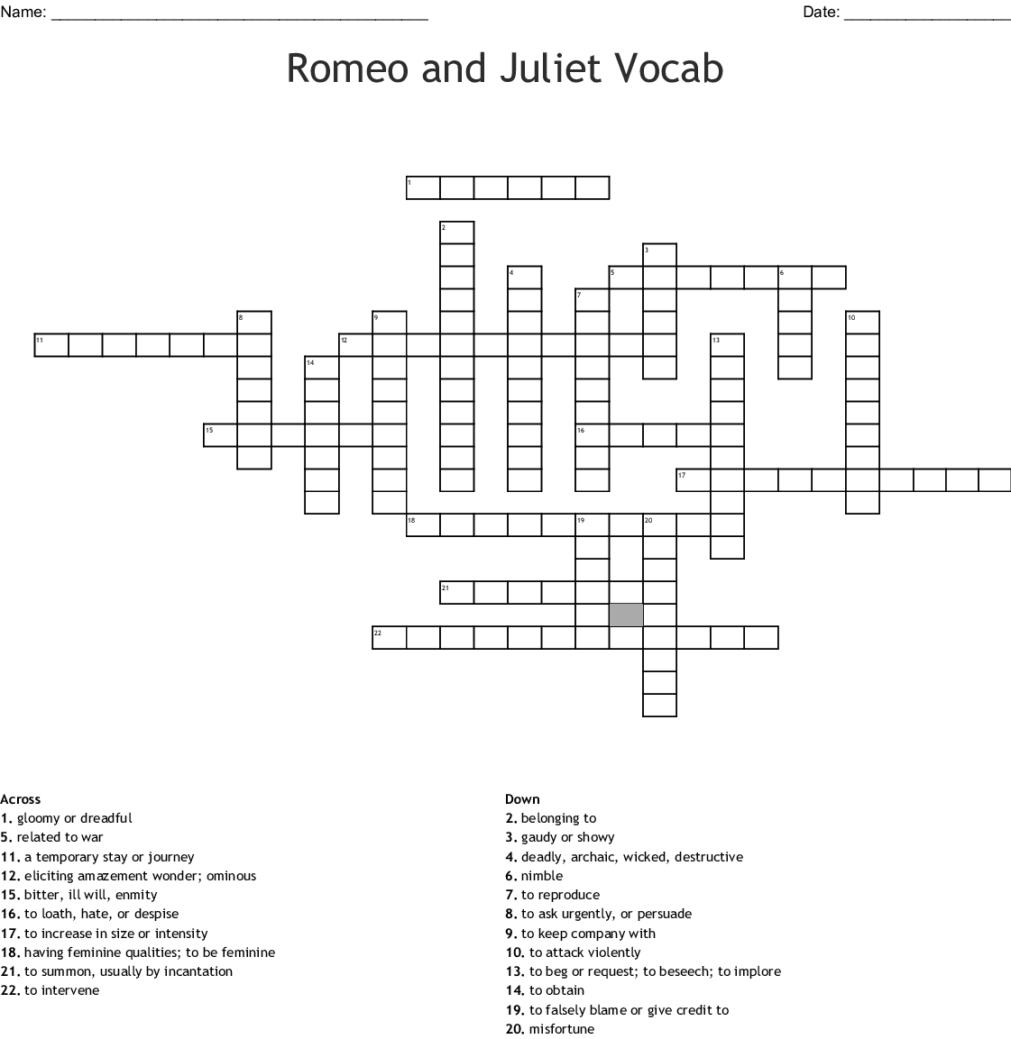 Romeo And Juliet: Act 2 Crossword - WordMint