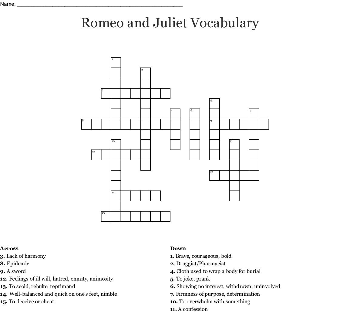 Romeo And Juliet Vocabulary Crossword Wordmint