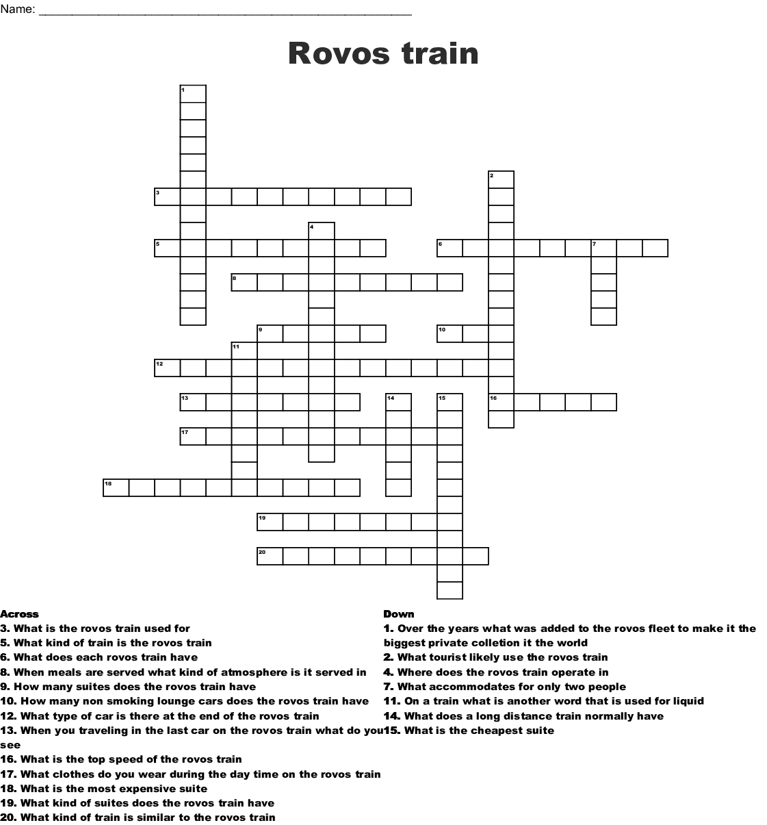 Rovos Train Crossword Wordmint