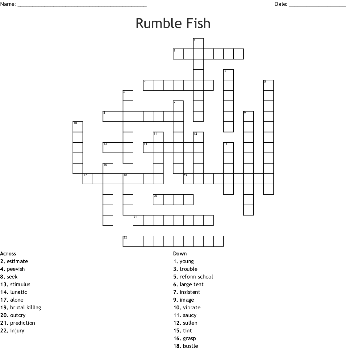 Rumble Fish Crossword Wordmint