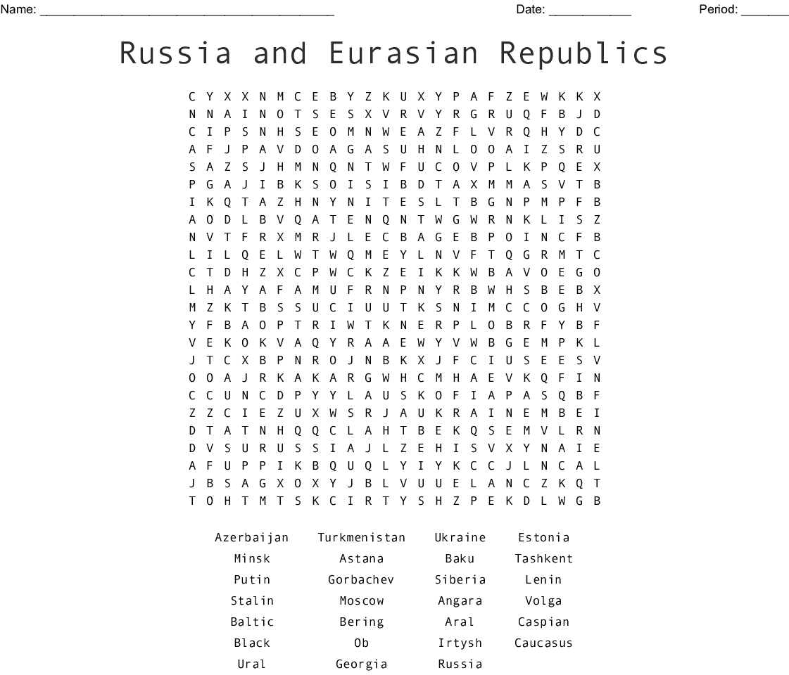 Russia and Eurasian Republics Word Search - WordMint