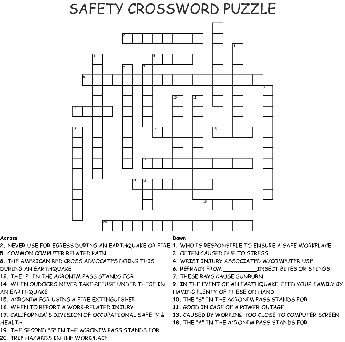 Safety Crossword Puzzle Crossword Wordmint