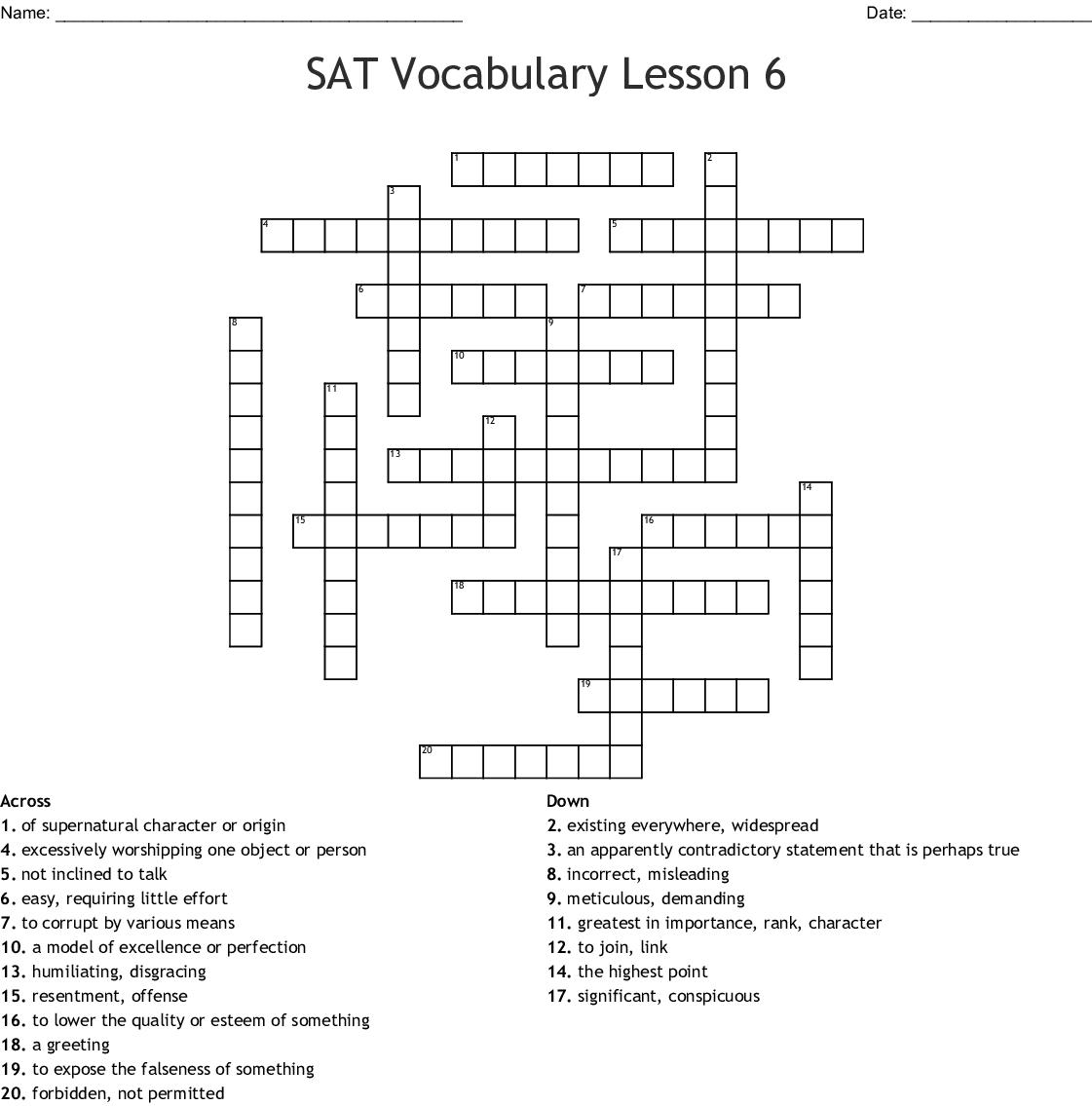 Sat Vocabulary Lesson 6 Crossword Wordmint
