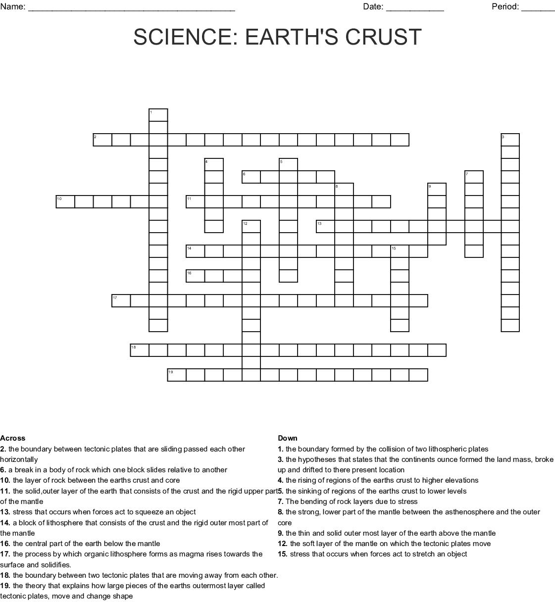 Science Earth S Crust Crossword Wordmint
