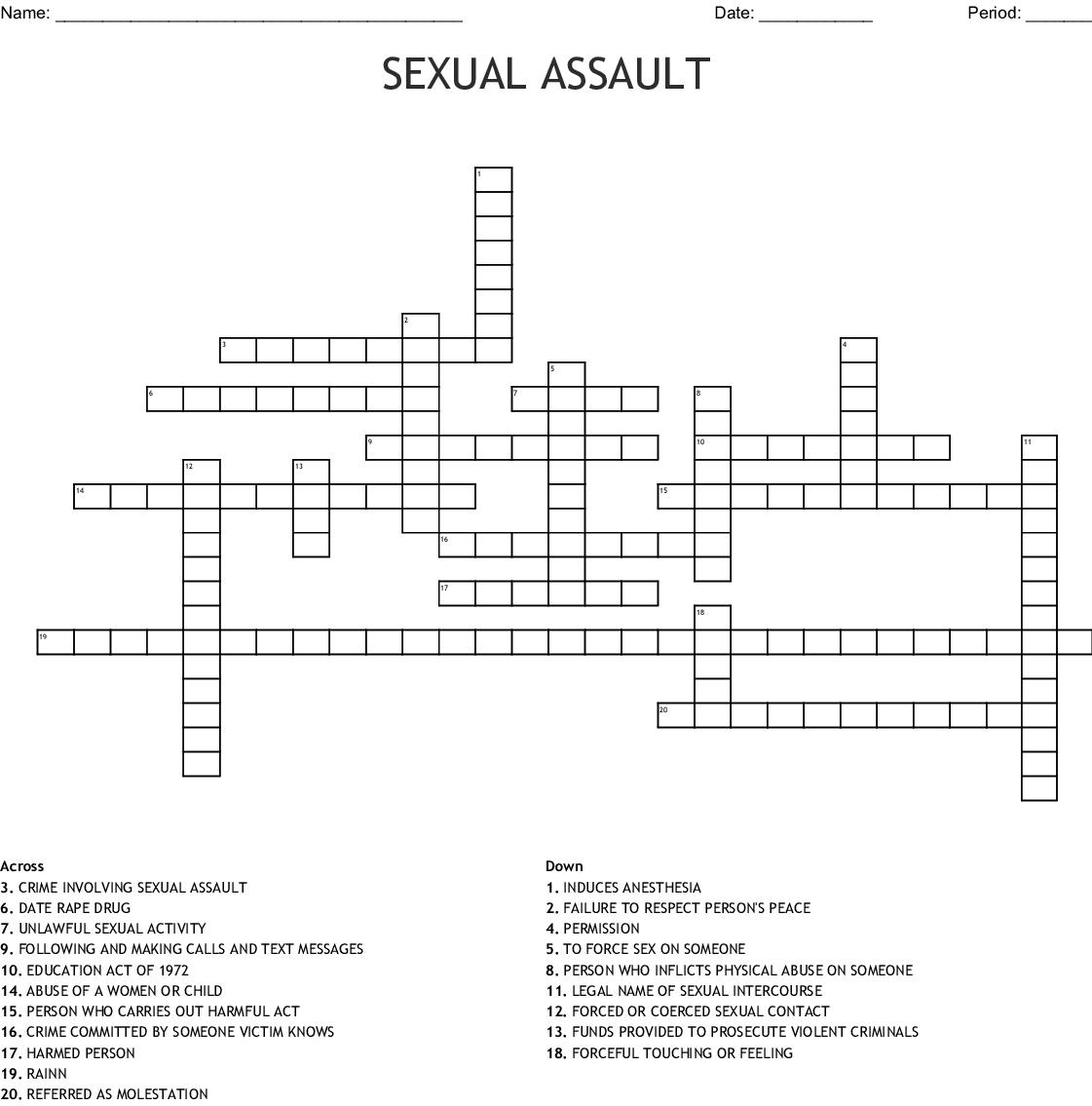 Rape And Date Rape Crossword Wordmint