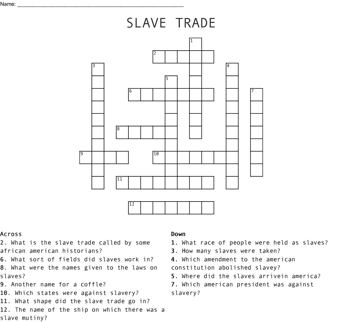 Slave Trade Crossword Wordmint