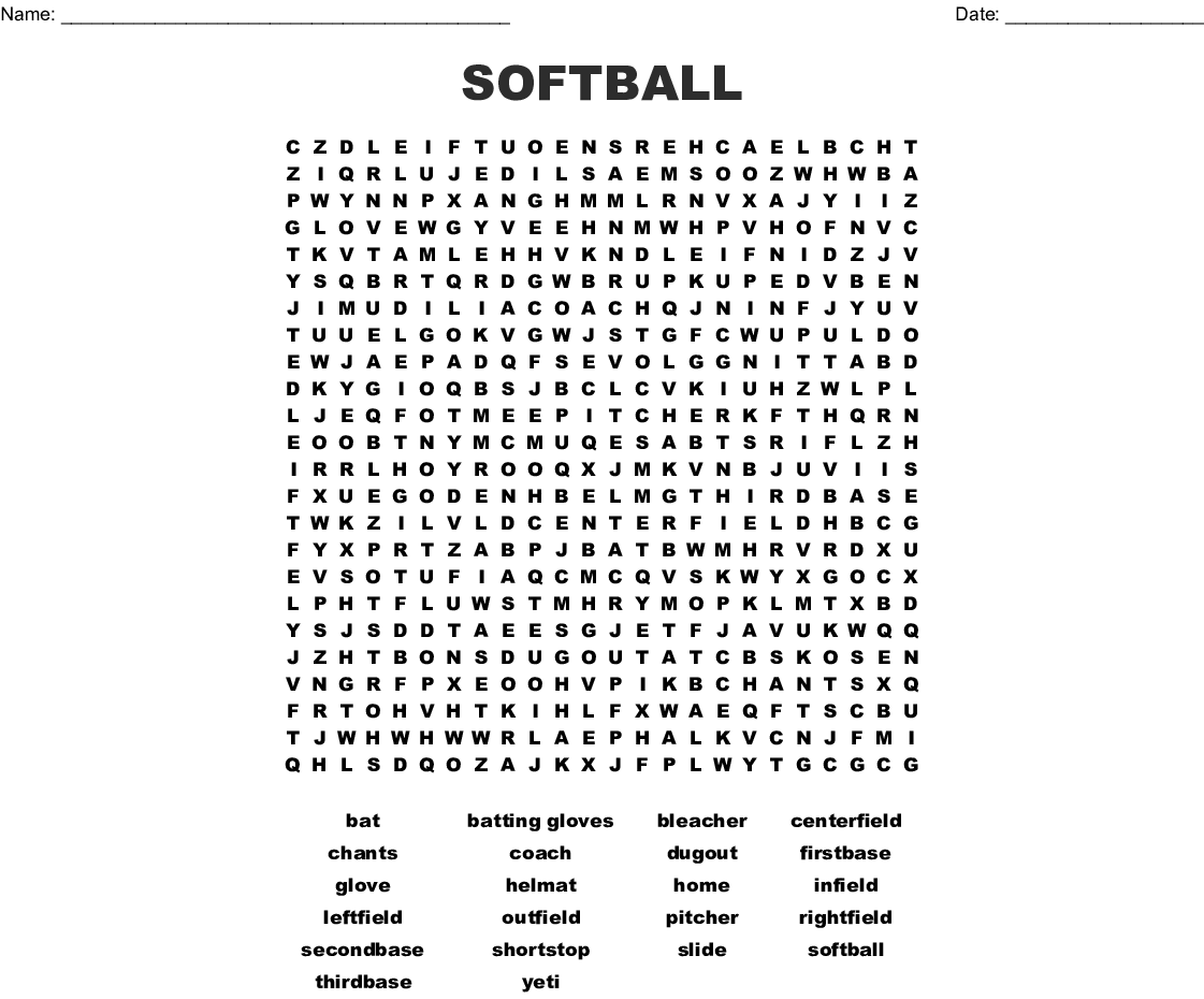 SOFTBALL Word Search