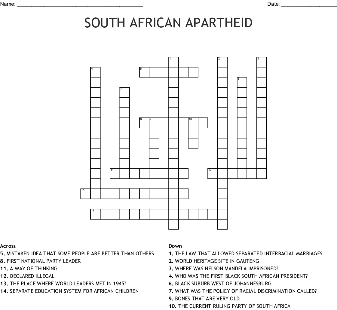 Apartheid South Africa Crossword - WordMint