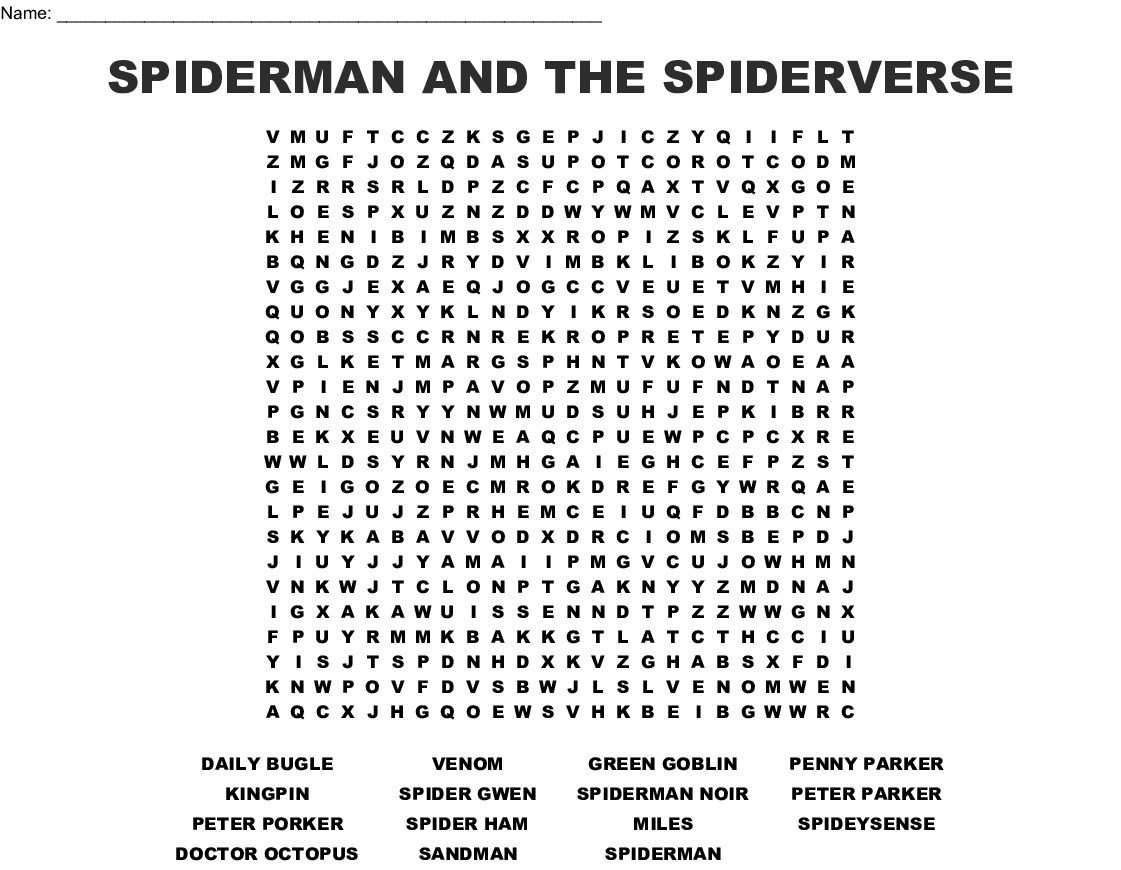 image about Daily Word Search Printable titled Spiderman Term Glimpse - WordMint