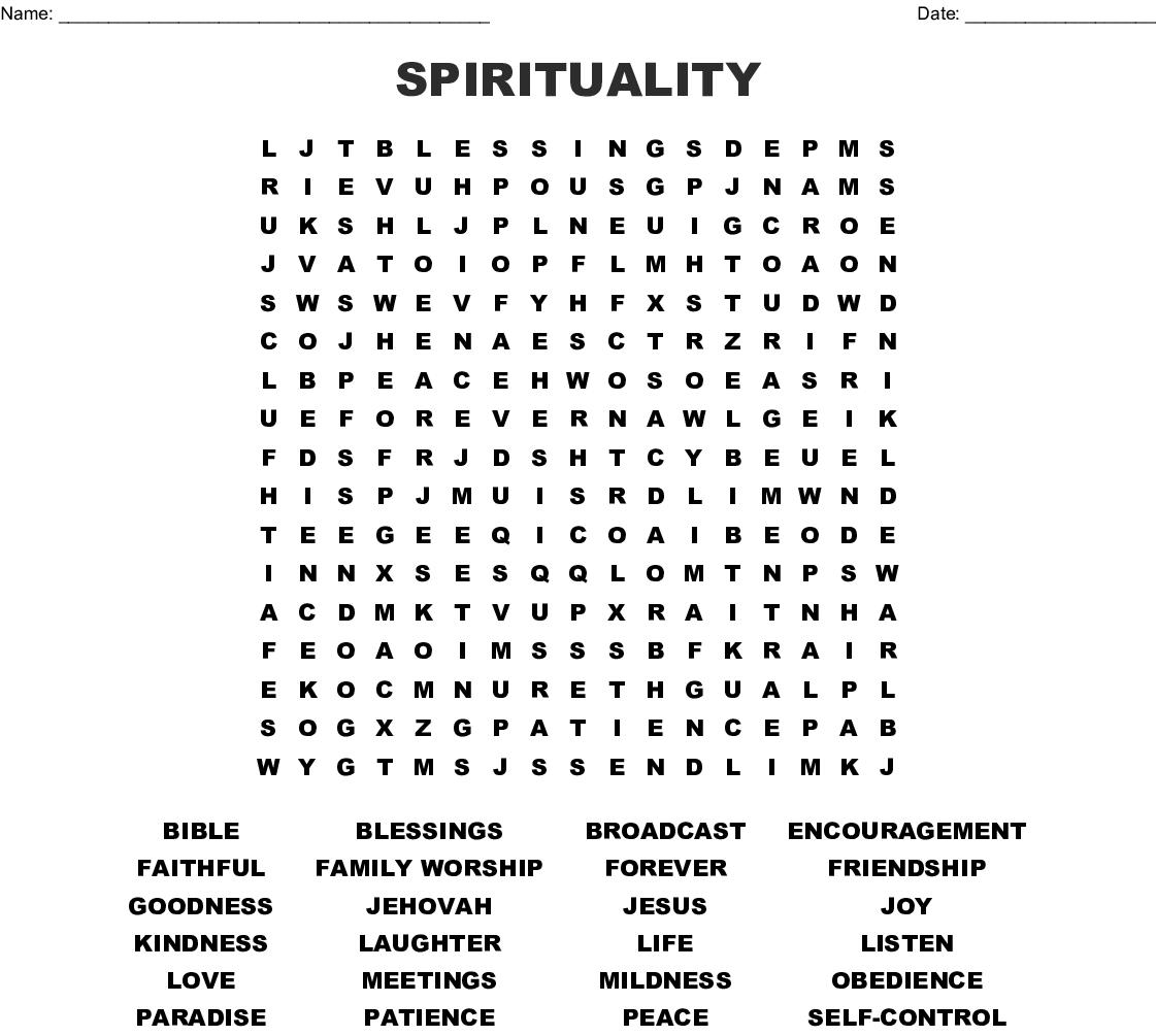 SPIRITUALITY Word Search - WordMint