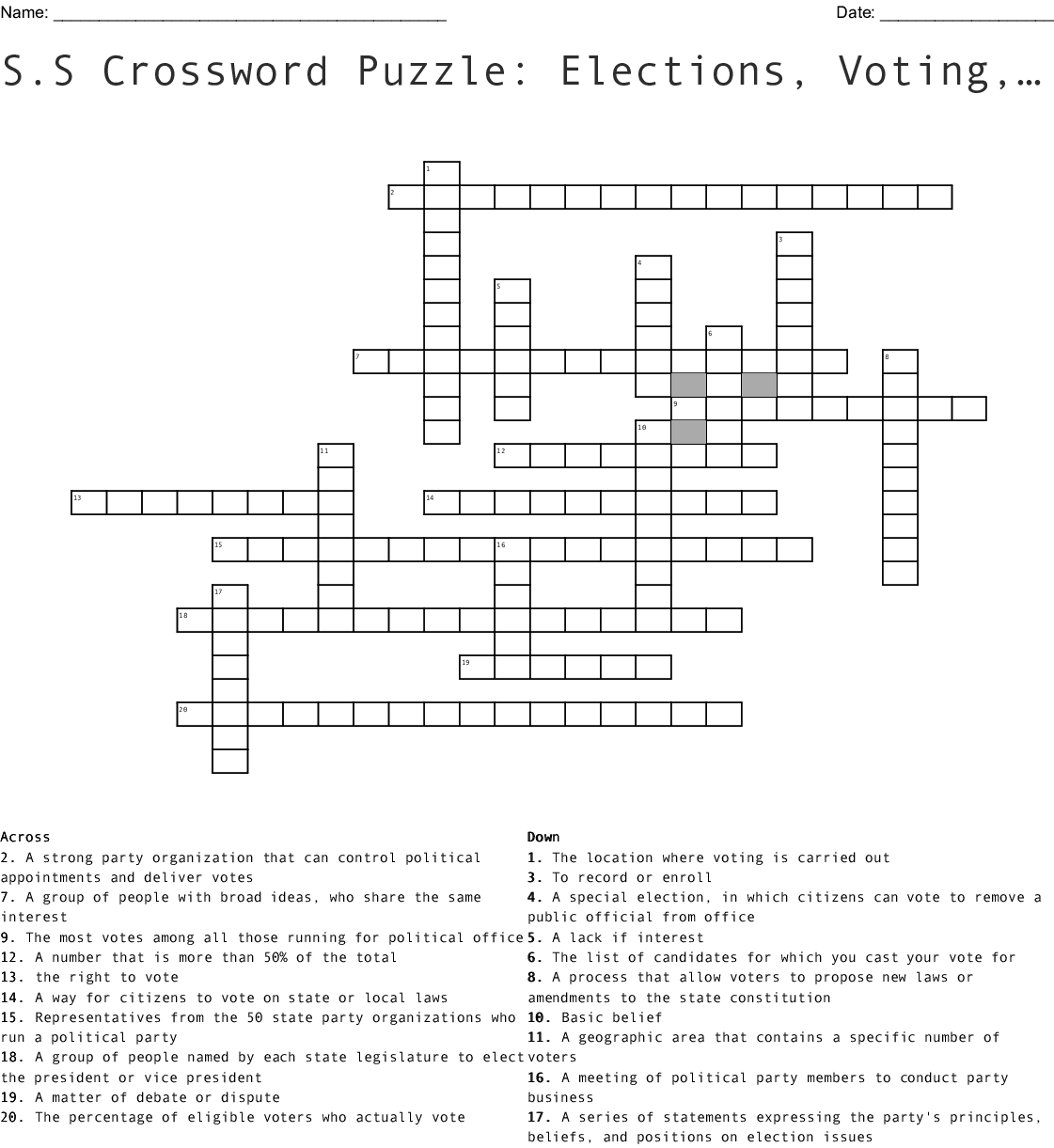 S S Crossword Puzzle Elections Voting And Parties Wordmint