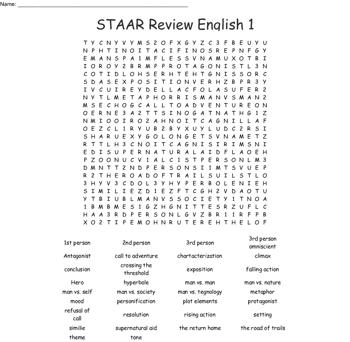 Figurative Language Terms Word Search - WordMint