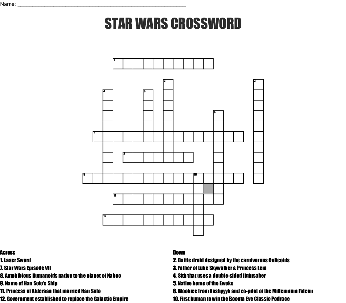 picture about Star Wars Crossword Puzzles Printable known as STAR WARS CROSSWORD - WordMint