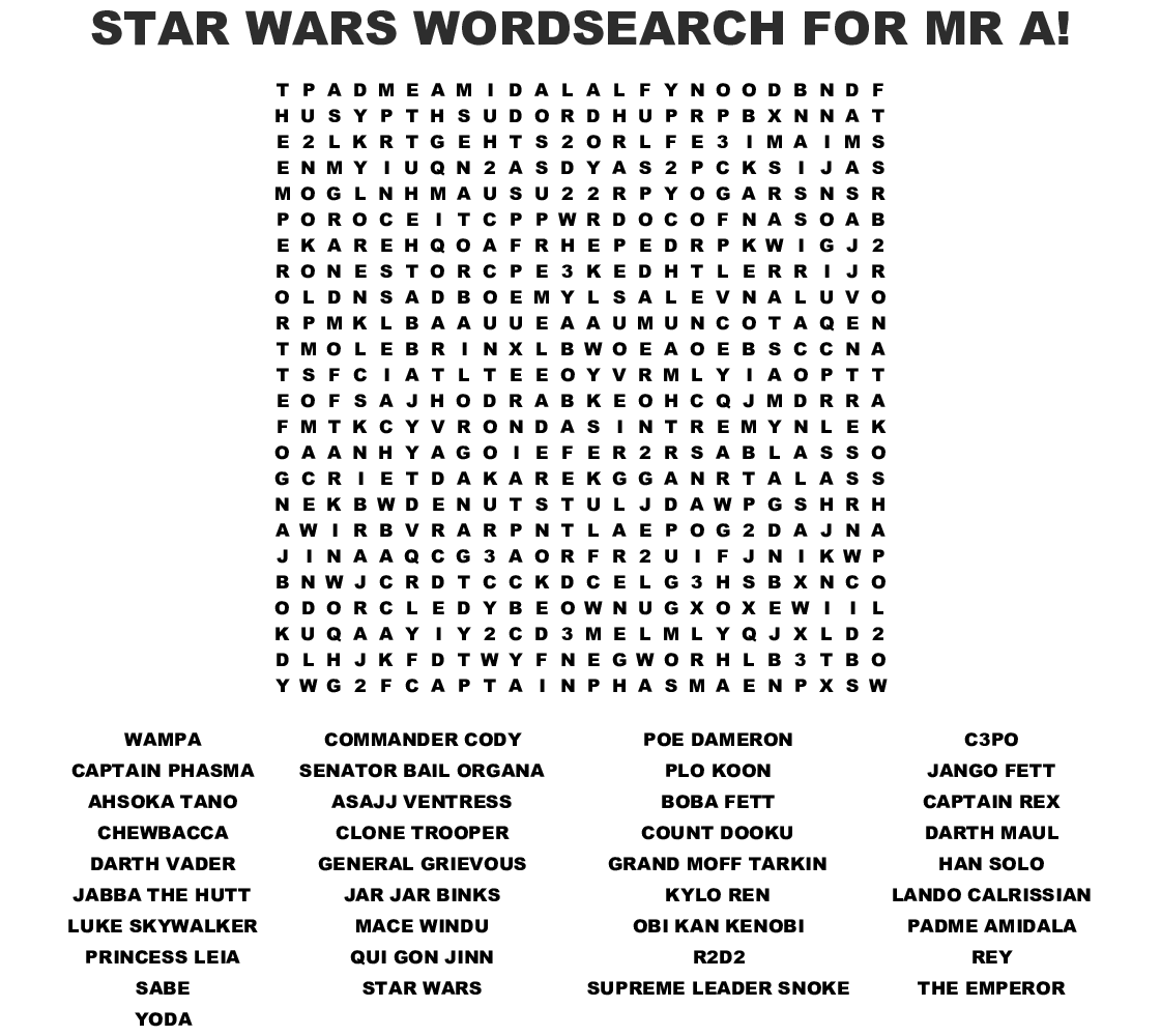 Star Wars Word Search - WordMint