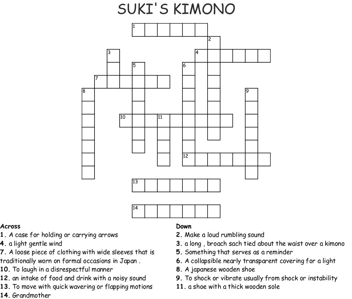 Suki S Kimono Crossword Wordmint