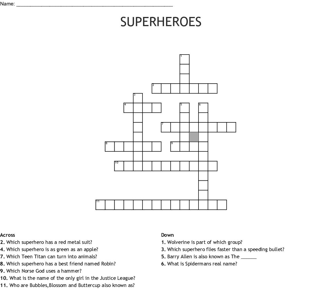 picture about Superhero Crossword Puzzles Printable named SUPERHEROES Crossword - WordMint