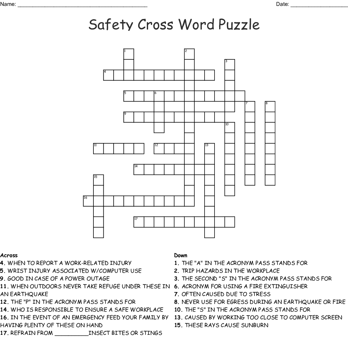 Safety Crossword Puzzle Wordmint