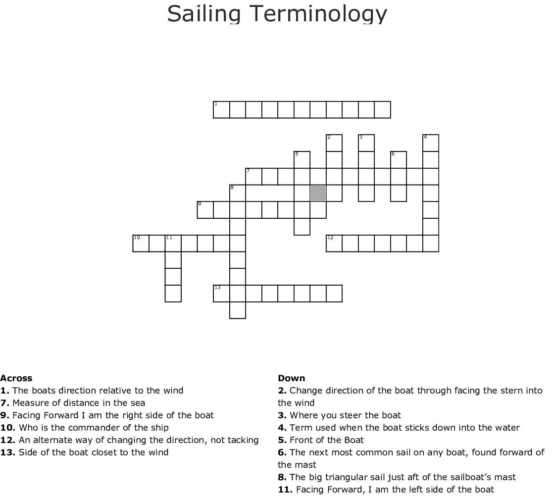 Sailing Terminology Crossword Wordmint