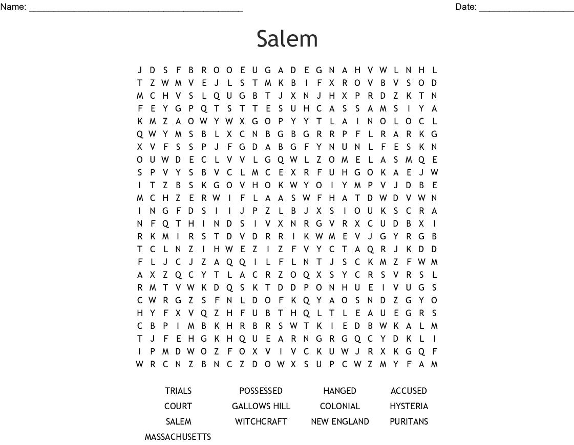 Salem witch trials Word Search - WordMint