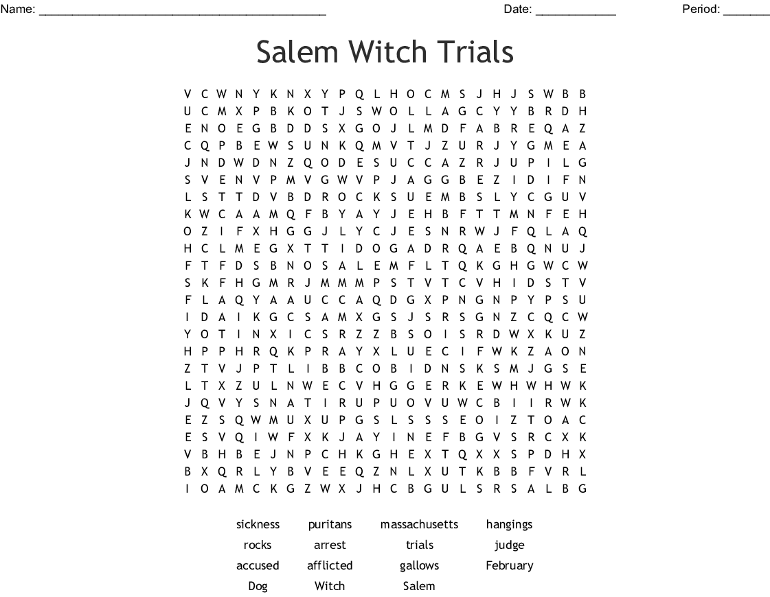 Salem Witch Trials Word Search - WordMint