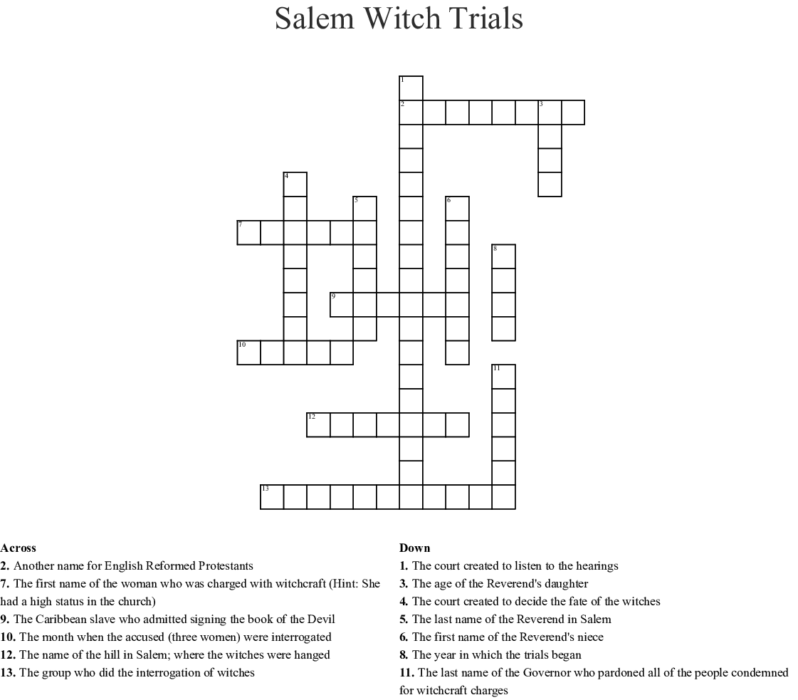 The Salem Witch Trials Crossword - WordMint
