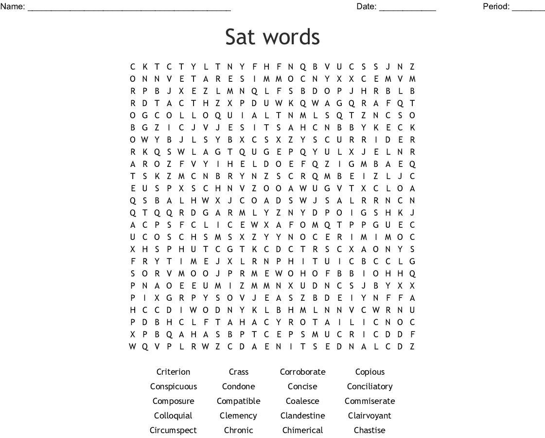 SAT Words 6-10 Crossword - WordMint