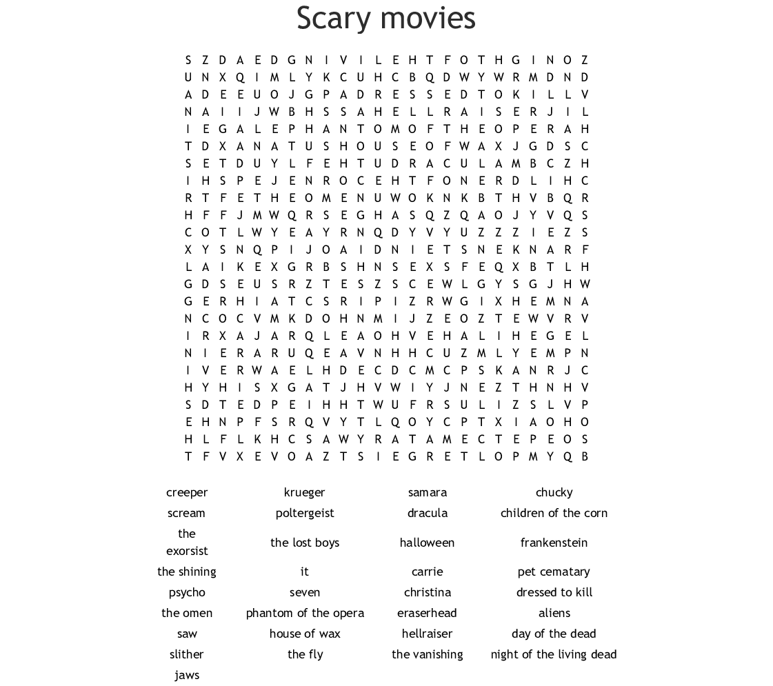 Scary movies Word Search - WordMint